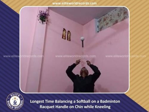Longest Time Balancing a Softball on a Badminton Racquet Handle on Chin while Kneeling
